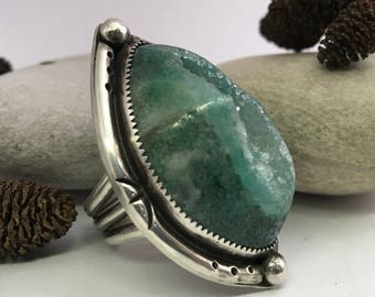 Green Druzy Ring, Sterling Silver Statement Ring, Quartz Ring, Green, Rustic, Silver Ring, Crystal Ring, Sparkly Ring, Boho Chic, Unique