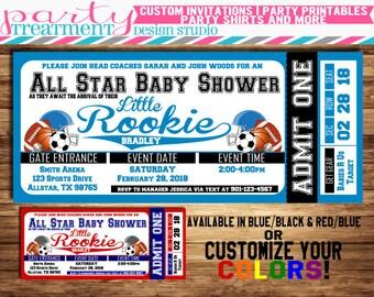 All-Star Sports Baby Shower Ticket Invitation, allstar baby shower, sports baby shower, basketball, football, baseball, soccer 055
