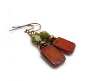 Red Beaded Earrings - Oxblood Red - Green - Petite Dangles - Picasso Rectangle Glass - Yoga Jewelry