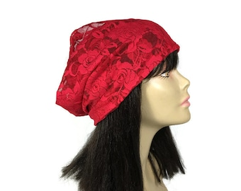 Red Lace Hat Red Hat Summer Lace Slouchy Hat Red Lace Slouchy Beanie Lightweight Women's Hats hats for Hair Loss FREE SHIPPING/Custom Sizes