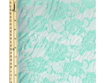 Stretch Lace Fabric by the Yard, Seafoam Pale Rose Floral Lace Fabric Yard style 216