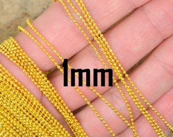 Gold metal chain per meter mesh ball 1 mm