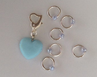 Blue Heart - snag-less stitchmarkers and one placeholder