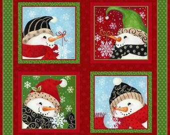 "New Christmas Fabric, Snowman Fabric: New Fabri-Quilt Christmas Snowman Greeting  100% cotton fabric by the PANEL 36""x43"" (FQ197)"