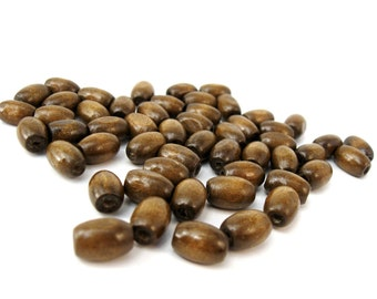 Wood oval beads - Chocolate Brown Natural Wooden Dye Beads 12x8mm - 50pcs