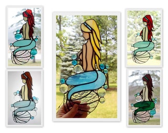 Stained Glass Mermaid Panel, Beach Decor, Glass Art, Custom Colors, Mermaid Gift, Gifts for Her