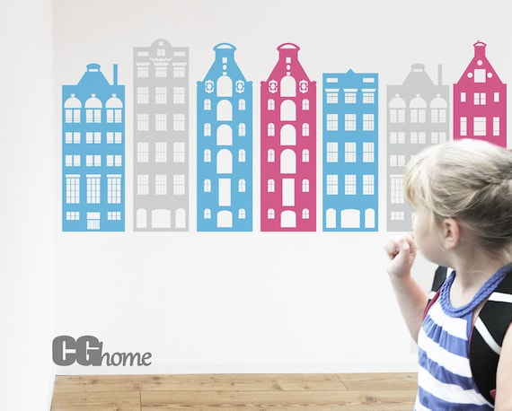 Wall Decals Nursery Crib Decor AMSTERDAM houses Wall Sticker PASTEL colors vinyl Wall Art Architecture Townhouse Pattern Toddlers Kids Room