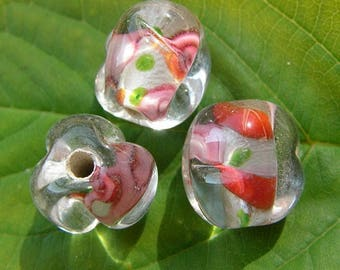 Red Green Pink glass flower bead