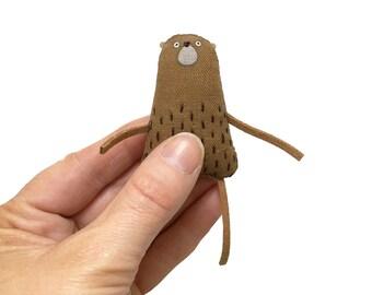 Tiny Teddy Bear, Miniature Teddy Bear, Handmade Bear, Hand-Embroidered Art Doll, Tiny Stuffed Animal, Miniature Toy Bear, Poosac