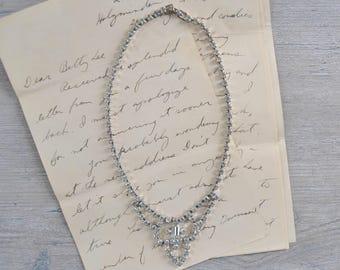 Vintage Rhinstone Necklace - Costume Jewelry Choker Collar Prom Wedding Fancy Formal