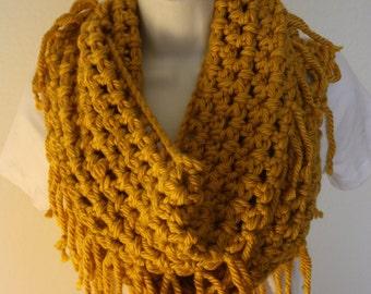 Crochet scarf, Infinity scarf, mustard, yellow, chunky scarf, fringe