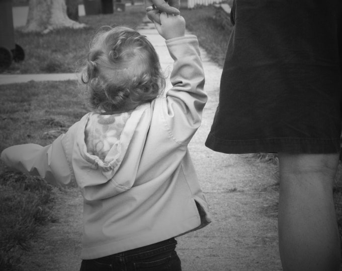 Black and White Baby Walk Children's Photo Art, Fathers Day Downloadable Print Card, Grandfather Art, Baby Art, Expecting Card, New Baby Art