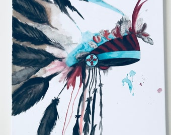 Chief Headdress Watercolor on canvas