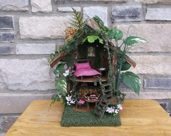 Fairy House with White LED Lights and fireplace