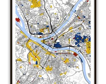 Pittsburgh Map Art / Pittsburgh Wall Art / Print / Poster / Modern Home Decor