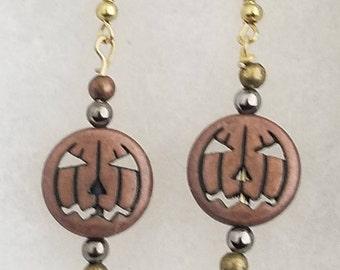Rose Gold Colored Jack-O-Lantern Dangle Earrings