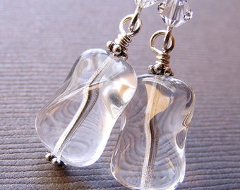 Clear Czech Glass Earrings on French Hooks. Smooth Transparent Wavy Twisted Rectangles.