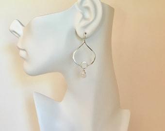 Moonstone gemstone sterling silver statement earrings