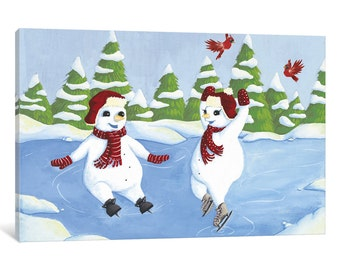 iCanvas Fun in the Snow II Gallery Wrapped Canvas Art Print by Elyse DeNeige