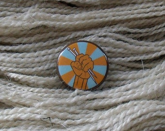"""Knit Retro Color 1"""" Button for Knitting Knitters Who Knit"""