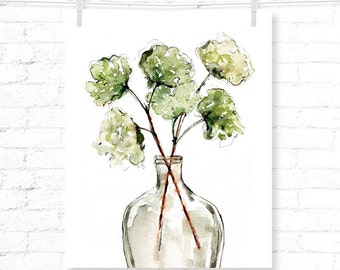 Vase - Greenery - Botanical - Plants - Watercolor - Art Print - Wall Decor