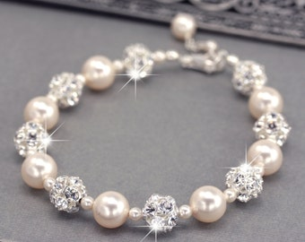 Ivory Pearl Wedding Bracelet, Swarovski Pearl and Rhinestone Bridal Bracelet, Wedding Jewelry for the Bride, White or Ivory Pearls