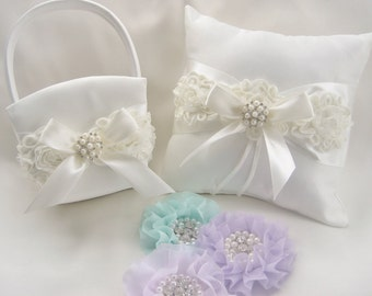White Flower Girl Basket, Mint Flower Girl Basket Flower Girl Basket and Pillow, Ring Bearer Pillow and Flower Girl Basket Set Shabby Chic