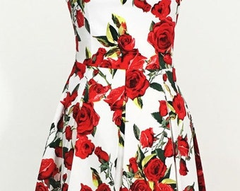 Summer dress, floral dress, red rose dress, sundress, wedding guest dress, vintage style dress, 1950s dress, flower dress, 50s dress