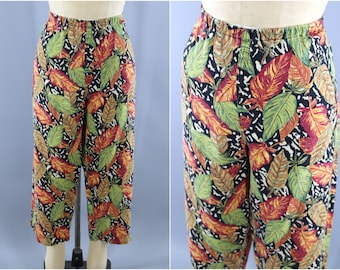 Vintage 1980s Cropped Pants / India Cotton Linen Pants / Tropical Leaf Print / Summer Linen Pants / Capris Loungewear / Large L