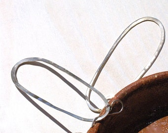 Long and Large Hammered Silver Hoop Earrings
