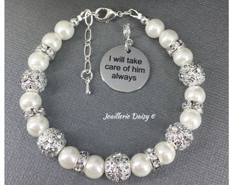 Mother of the Groom Gift I will take care of him always Charm Bracelet Gift for Mother in Law Bracelet Gift for Stepmom Wedding Jewelry