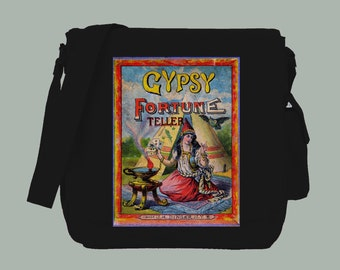 Gypsy Fortune Teller Vintage Circus Illustration Natural or Black Messenger Bag, 15x11x4