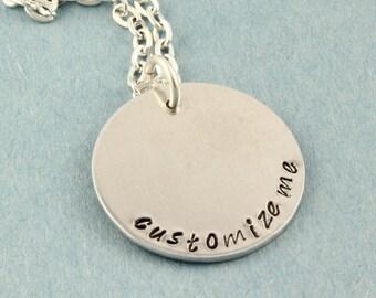 Collier personnalisé - collier sur mesure - collier personnalisé - estampée à la main collier tamponné cadeau - cadeau pour elle - collier en argent