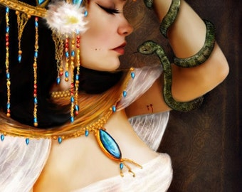 Cleopatra and the Serpent  8x10 or 8.5x11 or 11x17 Medium Sized Giclee Premium Fine Art Print