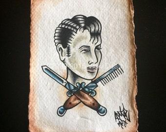 Rockabilly Rebel Original Tattoo Painting
