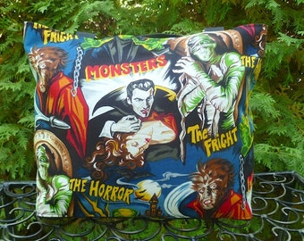 Movie Monsters purse, knitting bag, shoulder bag, pick your handles, The Tallullah