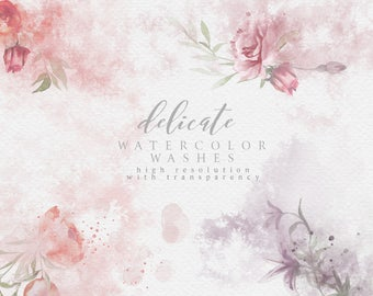 Watercolor Washes - Watercolor Splashes - Floral Washes - Peony Washes - DIY Watercolor - Romantic Florals Clipart - Pink Watercolor Wash