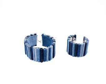 Arm Cuff | Arm Bracelet | Denim Accessories | Blue Necklace | Denim Necklace | Unique Jewelry | Collar Necklace