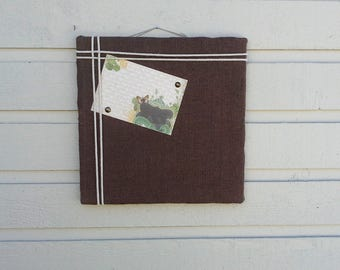 Burlap Pin Board, Chocolate Brown Photo Memory Board to display photo's or cards, great for wedding placecards, cabin and cottage decor