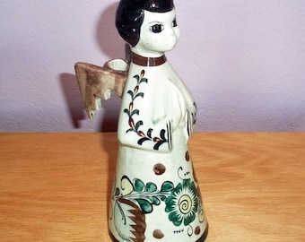 Vintage Tonala Mexican Pottery Hand Painted Angel Candle Holder CAT 1970s