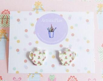 Roses Tea Pot studs earrings,tea lovers gift,vintage teapot,kitch earrings