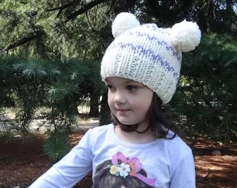 SALE Toddler Girl Hat, Toddler Knit Hat, Double Pom Pom Hat, Hand Knit Hat Toddler Knit Beanie Toddler Girl Pom Pom Hat