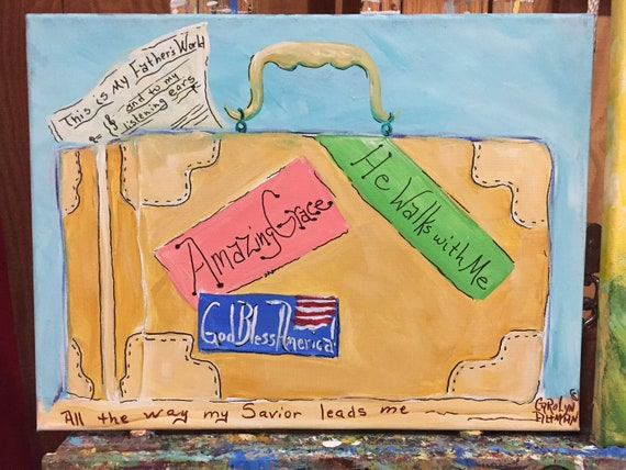 He Leadeth Me Original Painting |  Suitcase Painting Names of Hymns on the Stickers