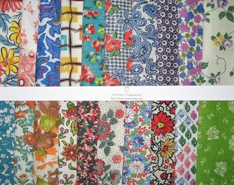 "Authentic Vintage Feedsack Fabric 20 5"" Square Charm Bundle No Duplicates"