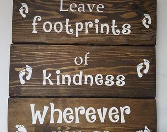 Leave Footprints - Reclaimed Wood Sign