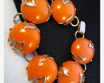 ON SALE Gorgeous Vintage Chunky Orange Lucite Bracelet,  1950's 1960's Collectible High End Jewelry