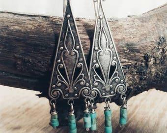 Silber und Türkis Ohrringe. Boho Silber Ohrringe. Türkis Ohrringe.