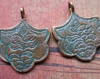 Verdigris Shimmer Brass Shalimar Charms - 1 pair - 21mm in length