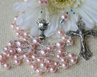 Catholic Swarovski Pearl First Holy Communion Rosary