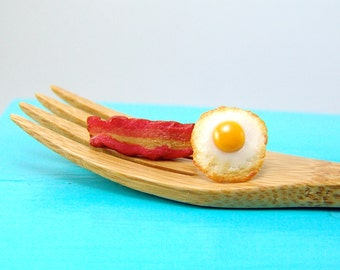 Eggs and Bacon Earrings // Post Earrings // MADE TO ORDER // Food Jewelry